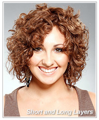 Short and long layered haircut for curly hair